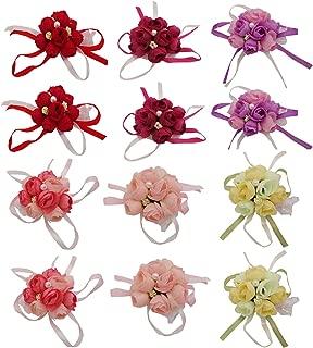 D-Worthy 12PCS Rose Floral Wrist Corsage Wristband, Wedding Bride Girl Bridesmaid Wrist Corsage Party Prom Hand Flower Decor