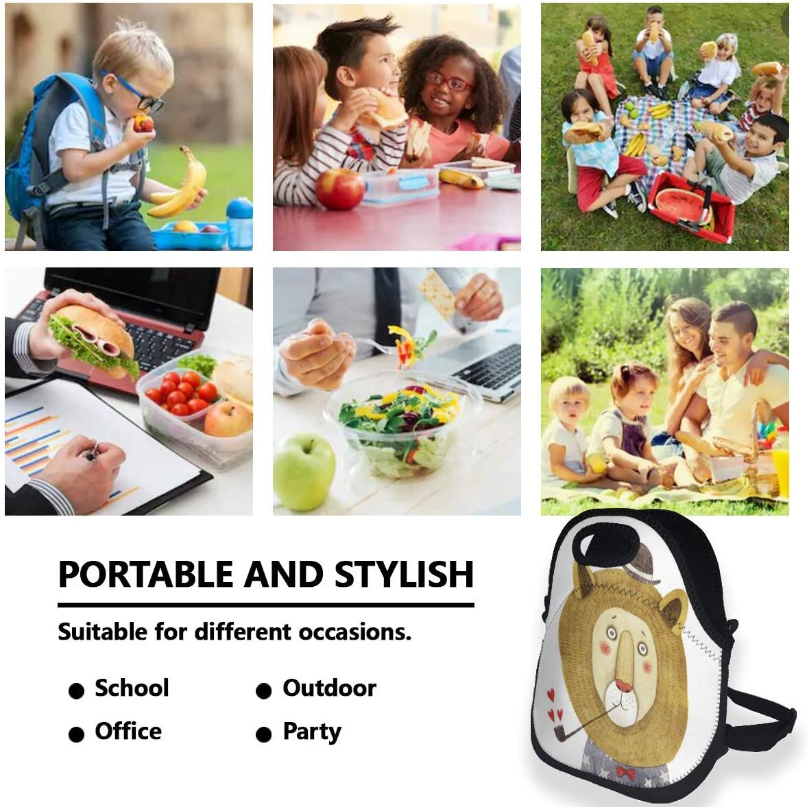 Portable Insulated Lunch Bags for Women Men Kids Girls, Dumb Lion Soft Neoprene Lunch Tote Bag, Lightweight Reusable Lunch Box for Work/Office/School/Outdoor/Travel/Picnic and Mom bag