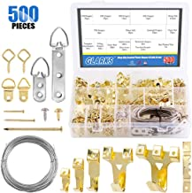 Glarks 500Pcs 10LB to 75LB Picture Hanging Kit, Heavy Duty Picture Hanger Frame Hook Hardware with Nails, Hooks, Hanging Wire, Screw Eyes, D Ring and Sawtooth Hanger for Frame Hanging Wall Mounting