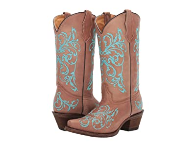Corral Boots Kids A2960 (Little Kid/Big Kid) (Taupe/Blue) Cowboy Boots