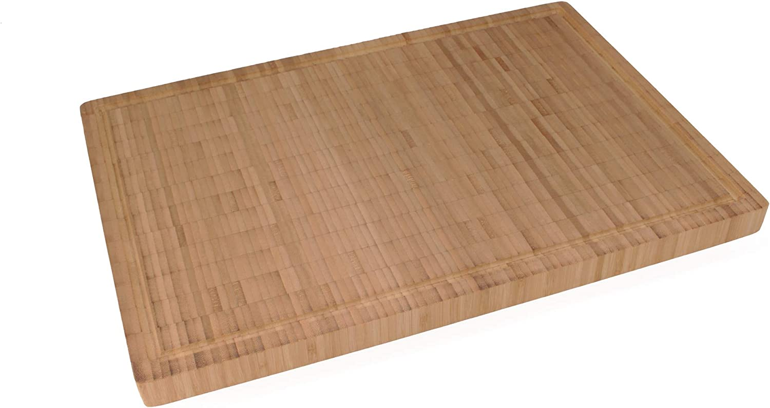 BambooMN Premium End Grain Cutting Board Two Toned with Juice Grooves 10 x 10 x 1-1 Piece