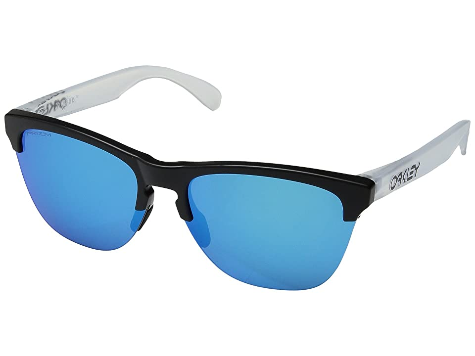Oakley Frogskins Lite (Semi Matte Black/Matte Clear w/ Prizm Sapphire) Athletic Performance Sport Sunglasses