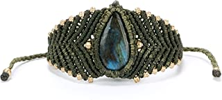 SPUNKYsoul Handmade Adjustable Macrame Bracelet with Crystal Stone for Women