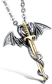 Fashion Rock Style Dragon Pendent Necklace for men