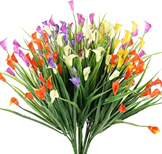 NAHUAA 6 Piezas Flores Artificiales de Lirio de Flores Plantas de Flores Falsas Multicolores Jardín Interior al Aire Libre Hogar Cocina Oficina Mesa Centros de Mesa Arreglos Decoración