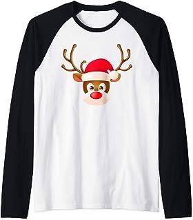 Gracioso Reno Pijama Navidad Bonito Regalo Mujer Hombre Camiseta Manga Raglan