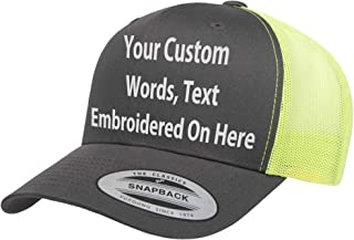 Custom Trucker Hat Yupoong 6606 Embroidered Your Own Text Curved Bill Snapback