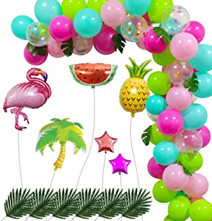 QIQU 91pcs Tropical Balloons Garland Kit DIY Luau Balloon Arch Garland w/Palm Leaves and Foil Ballon for Tropical Theme Birthday Party, Hawaii Flamingo Party,Baby Shower Decorations
