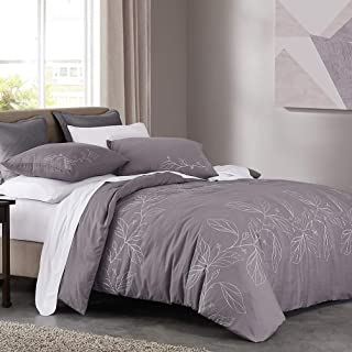 SHALALA NEW YORK Embroidery Cotton Duvet Cover Set with 2 Pillow Shams - Ultra Soft Cotton Slub Yarn Comforter Cover - All Season Comfortable - Machine Washable (Mars Stone Grey, Full/Queen)