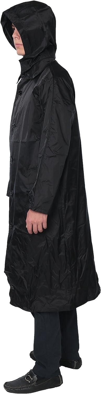 Fit Rite Men's Nylon Hooded Waterproof Long Lightweight Waterproof Raincoat Full Length Rain Jacket - Zip in Hood