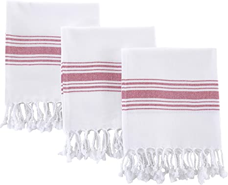 Amazon Com Hand Towels For Bathroom Set Of 3 Boho Turkish Kitchen Towels Decorative Farmhouse Towels For Kitchen Fringe Tea Dish Cloth Set Quick Dry And Highly Absorbent 18 X 38 Inches Bordeaux