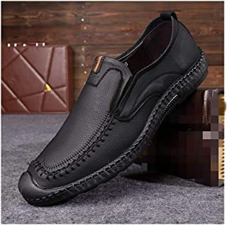Bin Zhang Flat Loafers for Men Boat Shoes Slip on Microfiber Leather Round Toe Anti-Collision Toe Solid Color Stitching Anti-Skid Soft Elastic (Color : Black, Size : 6.5 UK)