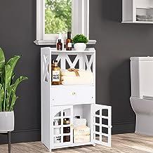 Bathroom Storage Cabinet Floor Cupboard,Free Standing Bathroom Floor Cabinet Organizer Side Storage Cabinet with 1 Drawer...