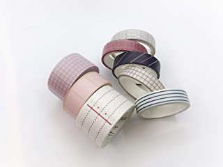 Stripes and Grid Patterned washi Tape Set of 8 Rolls for scrapbooks, Crafts, Cards, Invitations, and Decorating. Each roll is 197 inches Long