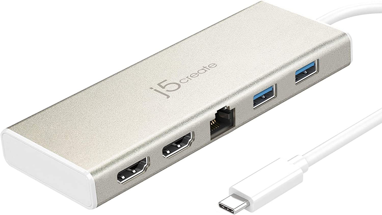 j5create USB-C Mini Dock- Type C Hub with 2X 4K HDMI, 2X USB 3.0, Ethernet, Power Delivery 2.0