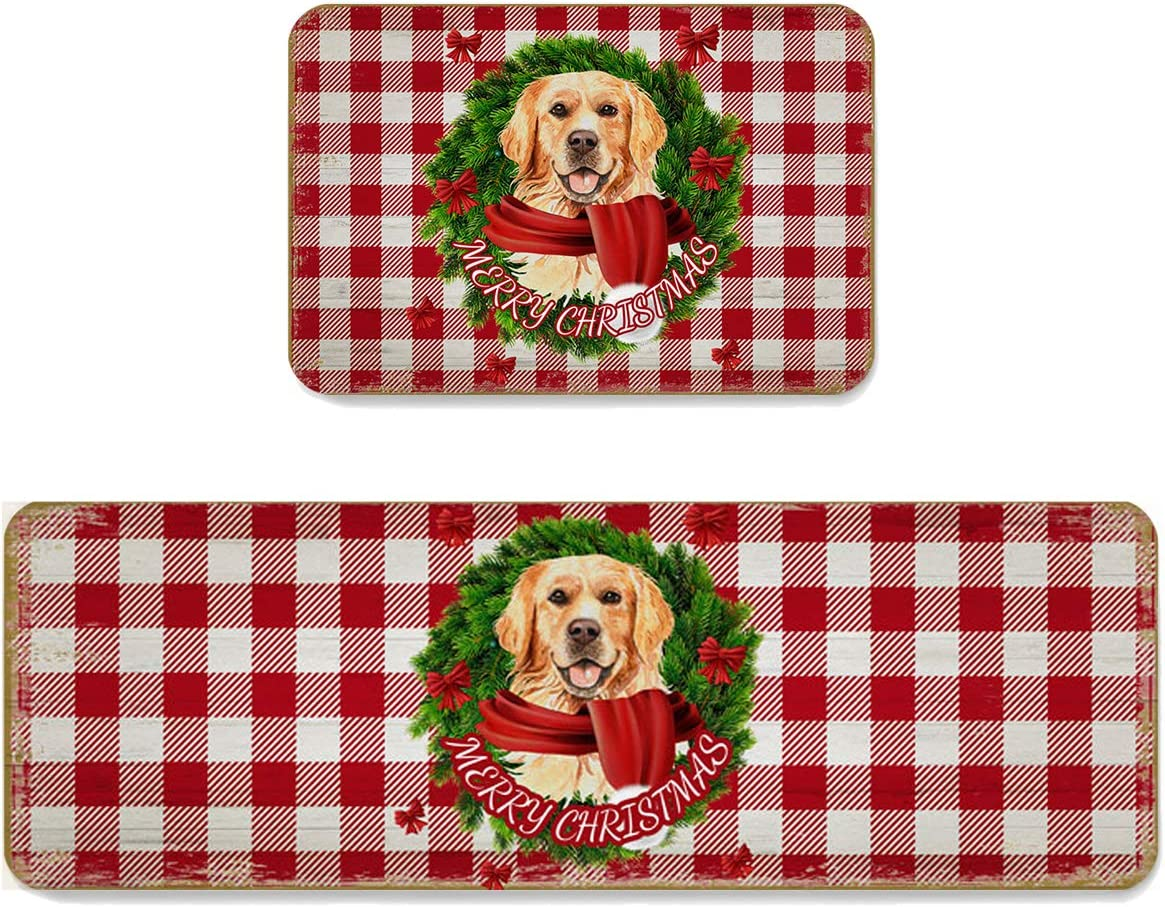 Area Cheap mail order sales Rug Set OFFicial 2 Pieces Non-Slip Ga Kitchen Mats Christmas Doormat