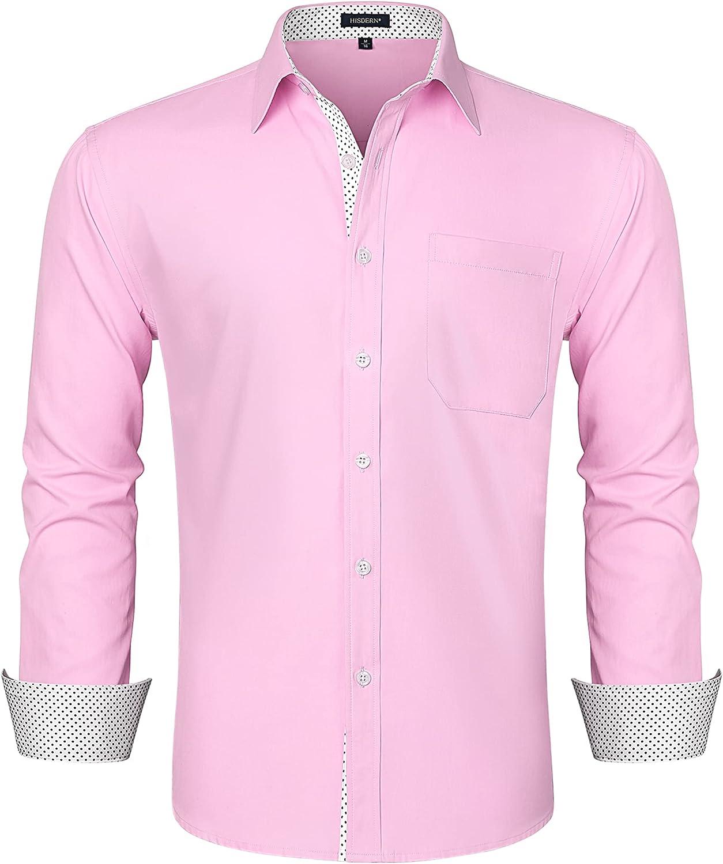 HISDERN Men's Inner Contrast Casual Dress Shirt Long Sleeve Formal Regular Fit Button Down Shirts for Business Wedding