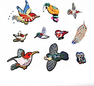10pcs Iron-on Embroidered patch Motif Applique,Hotfix Glitter Sequin (birds)