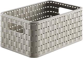 Rotho Country Boîte de rangement 6l en rotin, Plastique (PP) sans BPA, cappuccino, A5/6l (28.0 x 18.5 x 12.6 cm)