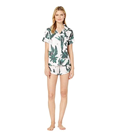 Plush Silky Jungle Print Short Sleeve Shorts Pajama Set (Pink/Green Jungle) Women
