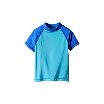 Speedo Kids Short Sleeve Color Block Rashguard (Big Kids) (Cyan) Girl