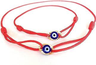 Lucky Charms USA Mommy and Me Set of 2 -Red String Sliding Knot Oval Enamel Evil Eye Bracelet for Protection, Mal De Ojo