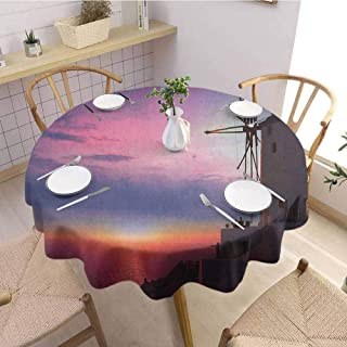 HouseLookHome Windmill Camping Tablecloth Beautiful Oia Village Santorini Island Greece Colorful Sky Idyllic Aegean Table Cloth for Kitchen Room 39 Inch Round Multicolor