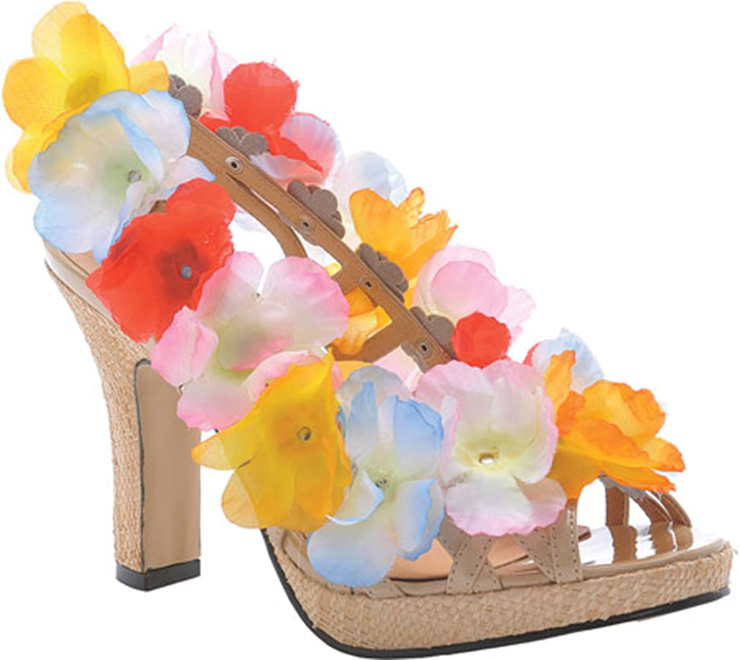 Ellie shoes ELLIE 402-LUAU 4  Heel Women's Sandal with Flower, Multi-color, 10 Size