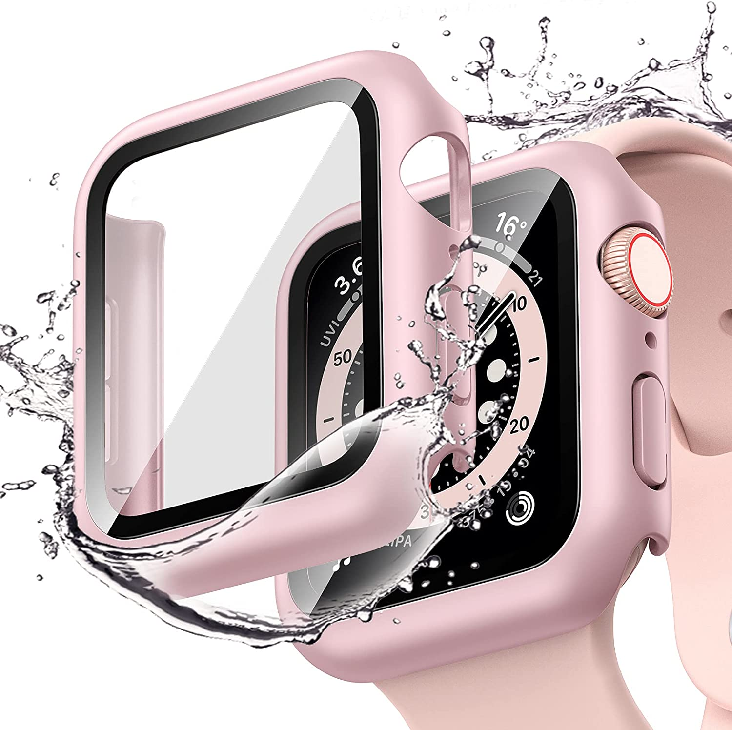 [2 Pack] Goton Waterproof Case Compatible for Apple Watch SE Series 6 /5 /4 40mm Case with Screen Protector, PC Matte Hard HD Tempered Glass Full Face Cover Protective Bumper Watch Case Accessories for iwatch women men (Pink+Pink, 40mm)