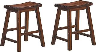 Homelegance Saddleback 18-Inch Height Barstool, Cherry, Set of 2