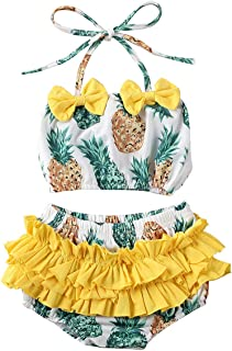 WINDYLEE Baby Girls Newborn Infant Casual Summer Tassel Sling Top+Headband+Watermelon Print Short 3Pcs Swimsuit Bikinis Set