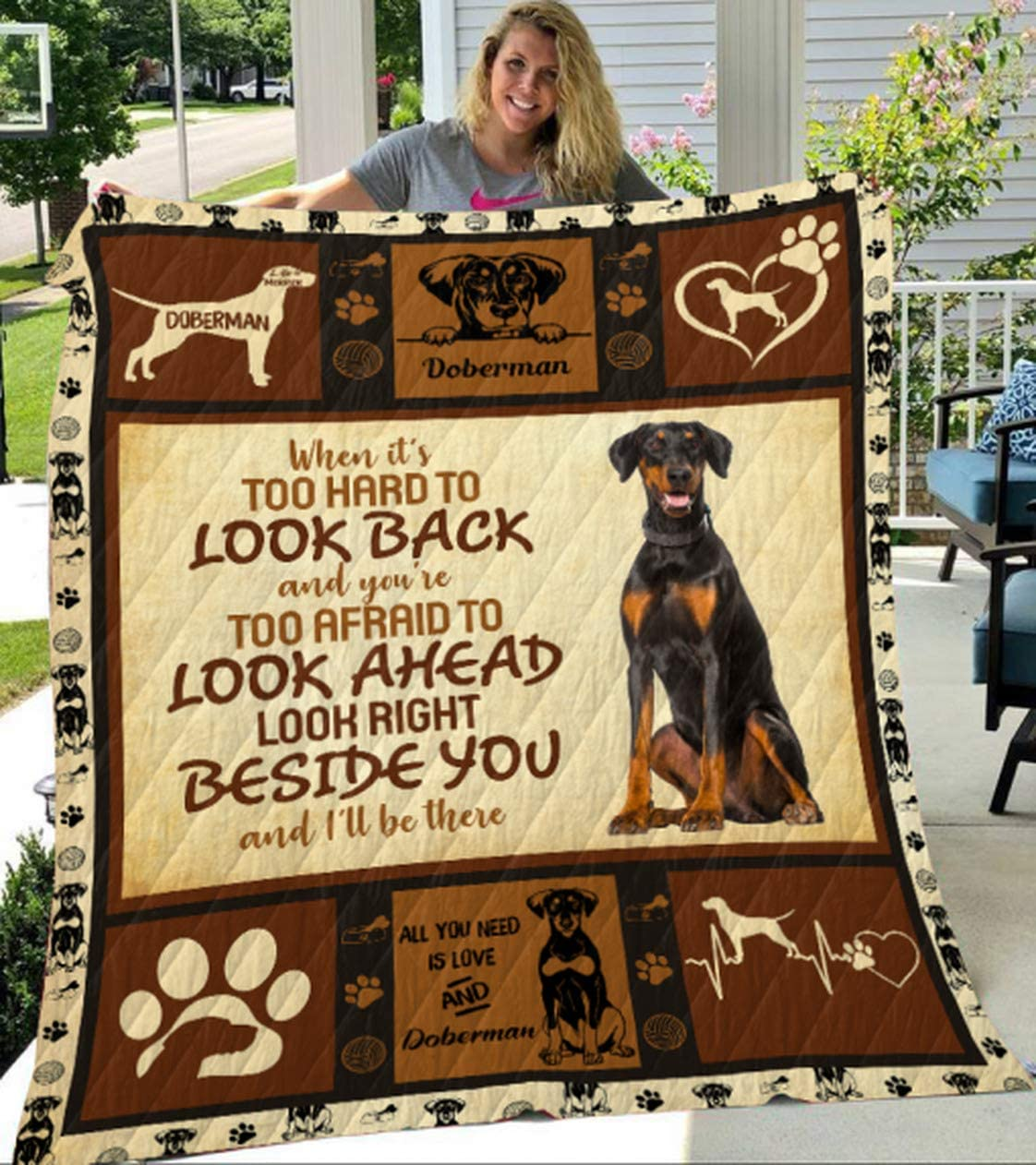 Personalized When It's Too Hard to Look Opening large release sale Doberman - Back Quilt Qu specialty shop