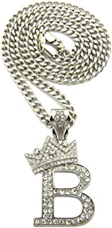 Shiny Jewelers USA Letter B King Crown Mens Iced Out Hip Hop Pendant Cuban/Box/Rope Chain Necklace Set