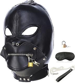 Leather Bondage Gimp Mask Hood, Black Full Face Blindfold Breathable Restraint Head Hood, Sex Toys, for Unisex Adults Couples, BDSM/LGBT Cosplay Restraint Training Toy Halloween Mask