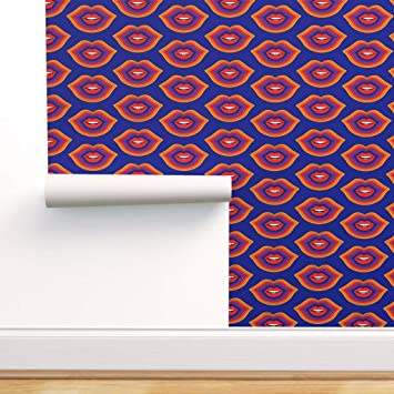 Spoonflower Pre Pasted Removable Wallpaper Lips Kiss Valentine Rainbow 70s Seventies Primary Colors Print Water Activated Wallpaper 24in X 108in Roll Amazon Com