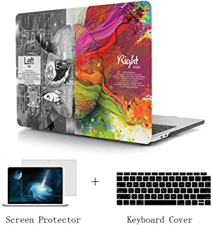 TwoL Hard Plastic Case Silicone Keyboard Skin and Screen Protector for MacBook Air 13 inch A1932 Release 2018 with Retina Display/Touch ID Creative Brain