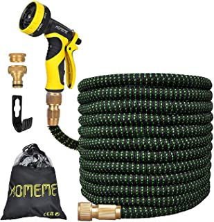 Garden Hose, Homeme 50 Feet Newest Expandable Strongest Magic Hose Pipe with Solid Brass Fittings & 9-pattern Spray Nozzle...