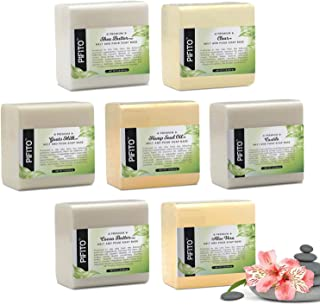 Pifito Melt and Pour Soap Base Sampler (7 lbs) │ Assortment of 7 Bases (1lb ea) │ Hemp Seed Oil, Clear, Aloe Vera, Goats M...