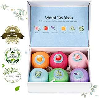 Bath Bomb Gift Set, LuckyFine 6 Pcs Natural Handmade Bath Bomb Kit, Spa Bubble Bomb Moisturizing Dry Skin Relaxation Kit for Women