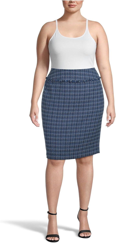 Kasper Womens Blue Fringed Plaid Knee Length Pencil Wear to Work Skirt Size 14W