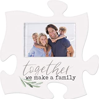 P. Graham Dunn Together We Make A Family White 6 x 6 Wood Mini Puzzle Piece Wall Photo Frame