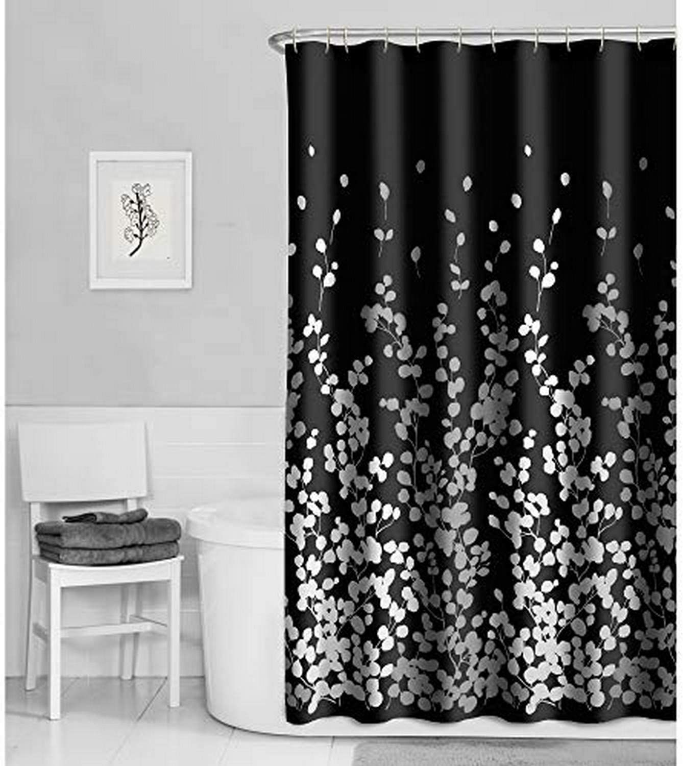 MAYTEX Black and Ranking TOP17 White Sylvia Fabric Curtain Faux Silk Shower Super sale period limited