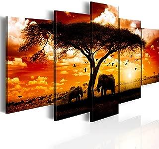Konda Art 5 Panel African Animal Painting Wall Decor Art Elephant Picture on Canvas for Living Room Landscape Sunset Print Artwork Framed and Ready to Hang (Flock madarak egész szavanna, 60