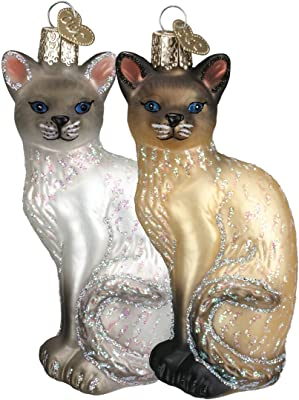 Old World Christmas Ornaments: Siamese Cat Glass Blown Ornaments for Christmas Tree