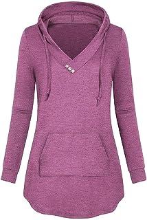 14fe9a7c3bfdcb Ankola Hoodie Women s Long Sleeve V Neck Pleated Pullover Sweatshirts Tunic  Hoodies with Kangaroo Pocket