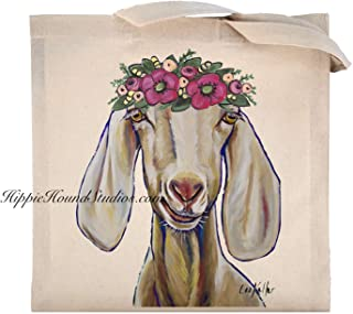Goat with Flower Crown Tote Bag, Goat Lover Gifts