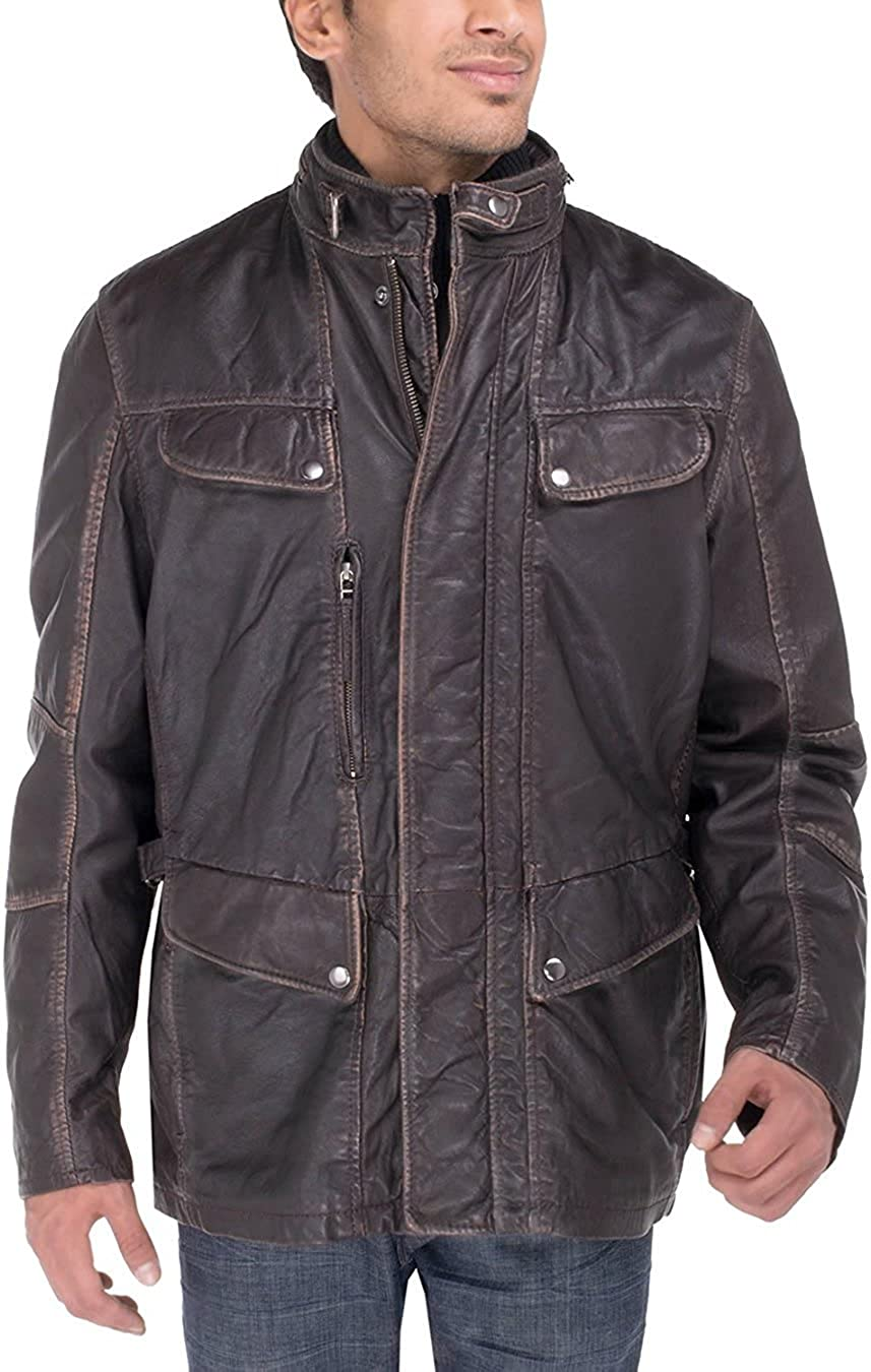 Luciano Natazzi Men's Trim Fit Lambskin Leather Jacket Vintage Look Blast Washed