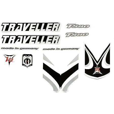 Fahrrad Dekor Satz Aufkleber Rahmen Frame Decal Sticker Traveller Schwarz Grau Sport Freizeit