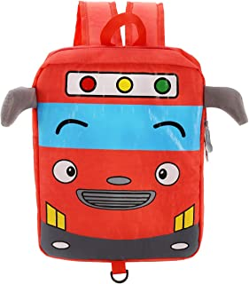Willikiva Little Cute Bus Mini Toddler Travel School Backpack for Kids Boys Girls to Preschool Waterproof Children with Safety Harness Leash Chest Strap Bag (Orange Red)