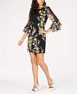 Alfani Tiered Mesh Sleeve A-Line Dress, Tulips Alive, 16